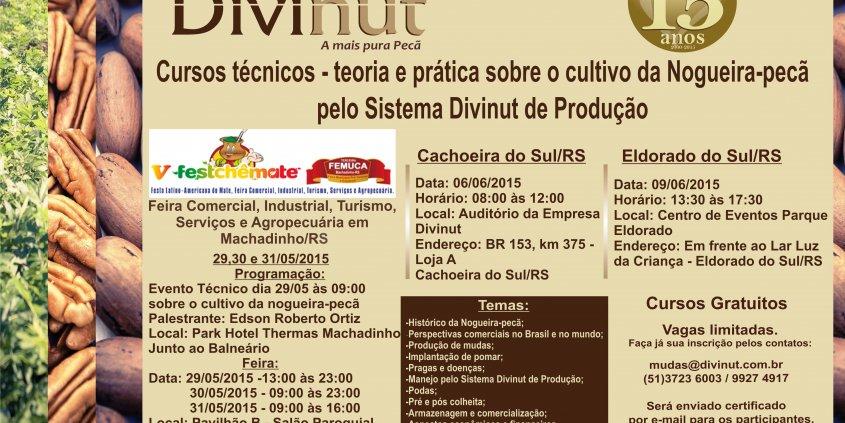 Cursos técnicos sobre o cultivo da nogueira-pecã pelo sistema Divinut de produção.